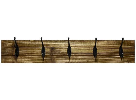 Lišta S Háčikmi Elli 2 - čierna/tmavohnedá, Moderný, kov/drevo (60/10/9cm)
