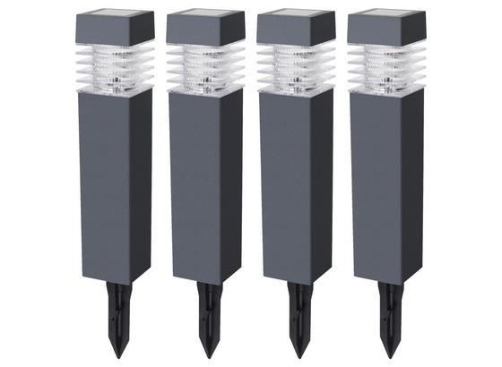 Solarleuchtenset 4-Er Pack - Grau, MODERN, Kunststoff (5,8/5,8/38,5cm)