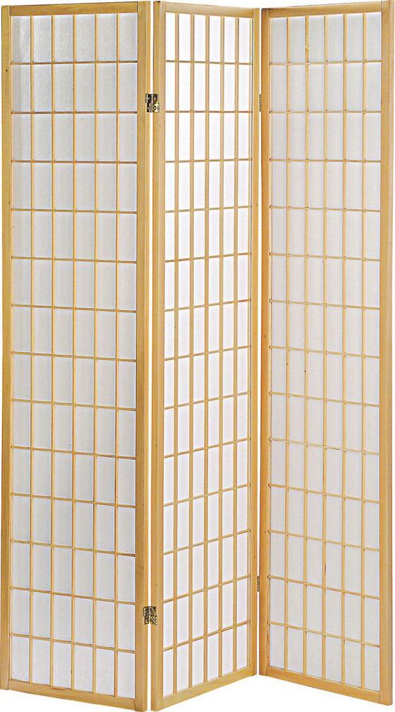 Paraván Naomi - přírodní barvy, Moderní, dřevo/papír (131/179/2cm)