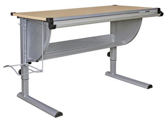 Jugendschreibtisch B: 118 cm Buche Dekor - Silberfarben/Buchefarben, Basics, Holzwerkstoff/Metall (118/60/60cm) - MID.YOU