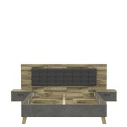 Bettanlage Rcql1184-C692 Ricciano B:296cm - Eichefarben/Dunkelgrau, Basics, Holzwerkstoff/Kunststoff (296.5/120/209.9cm) - MID.YOU