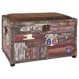 Truhenbank Timber 65cm Vintageoptik - Multicolor, KONVENTIONELL, Holzwerkstoff/Textil (65/42/40cm)