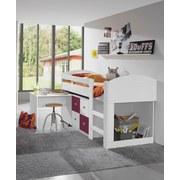 Postel Jette - bílá/ostružina, Moderní, dřevěný materiál (98/127/204cm)