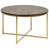 Couchtisch mit Bedruckter Glasplatte Rund Alisma Marmor - Goldfarben/Braun, Trend, Holzwerkstoff/Metall (80/80/46cm) - Carryhome