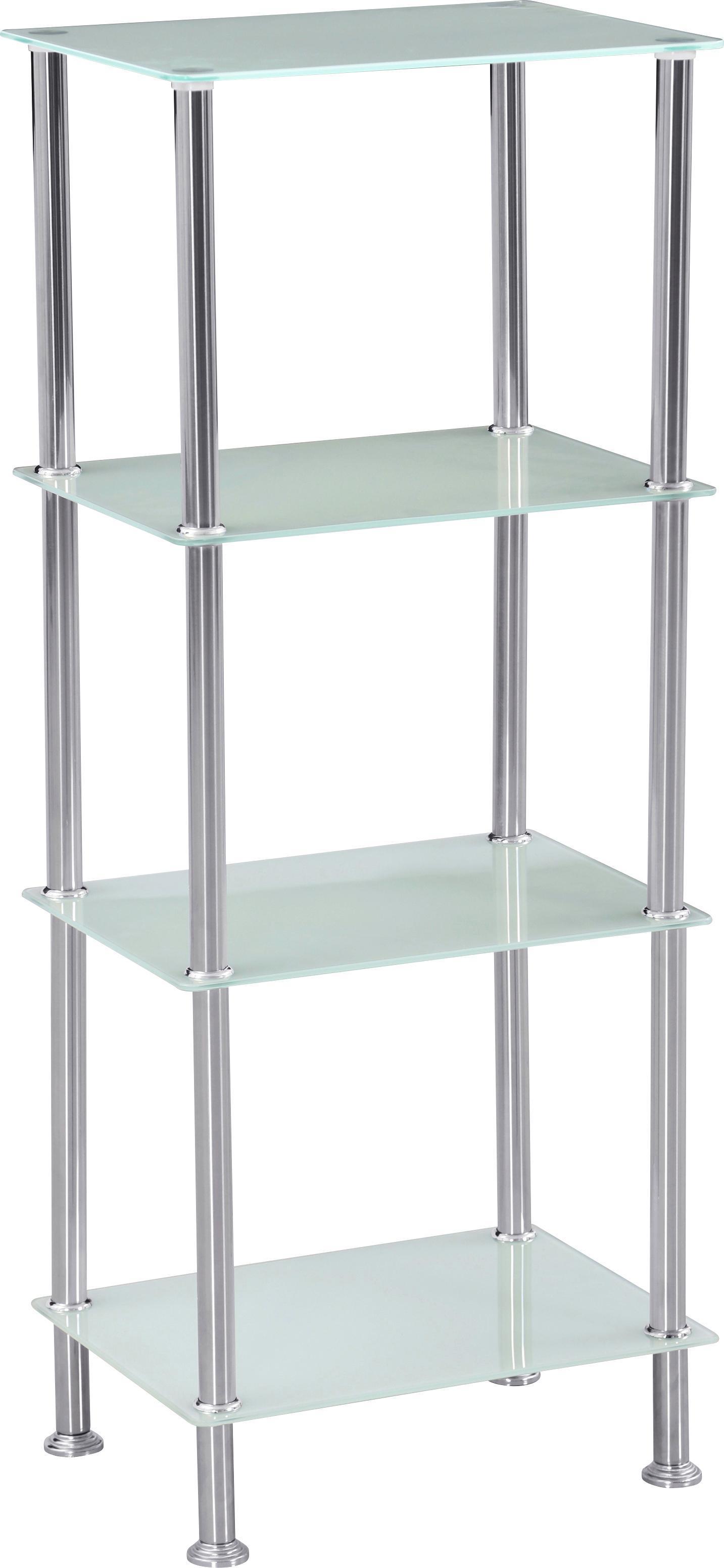Regal aus Edelstahl und Glas zum Stellen