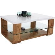 Couchtisch Holz mit Ablagefach Glas Depot, Dekor - Eichefarben/Weiß, MODERN, Glas/Holzwerkstoff (100/40/60cm)