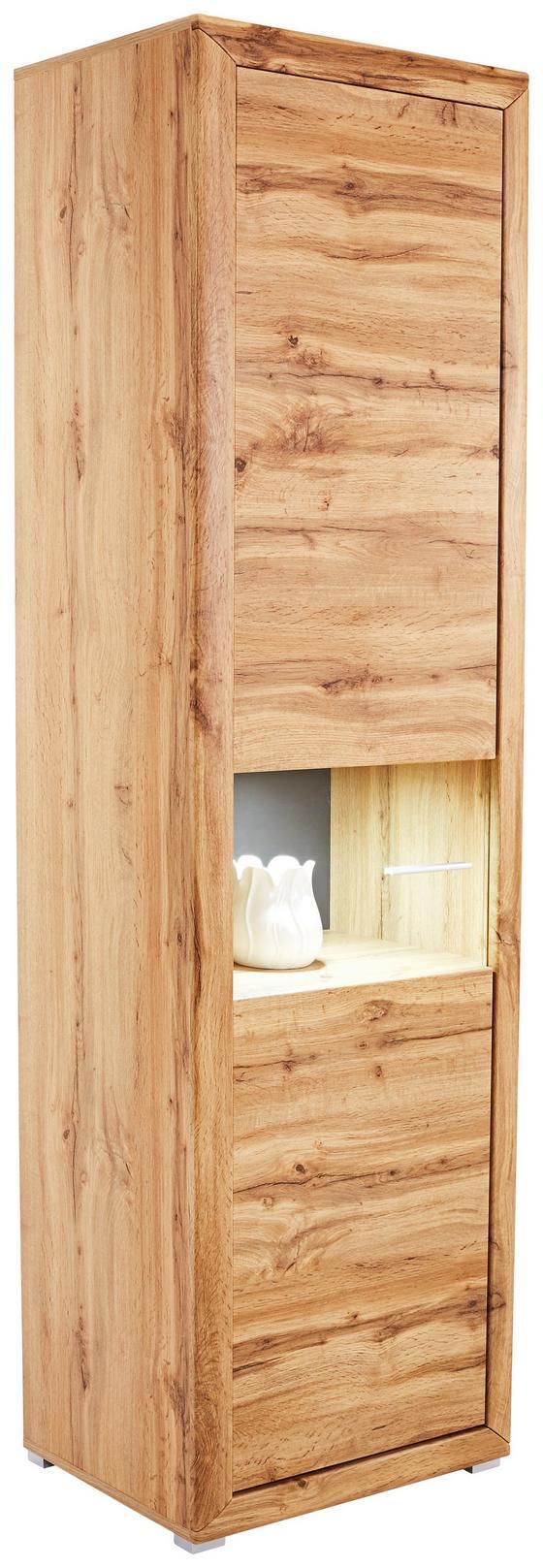 Vitrína Tizio - šedá/barvy dubu, Moderní, dřevěný materiál/sklo (63/206/41cm)