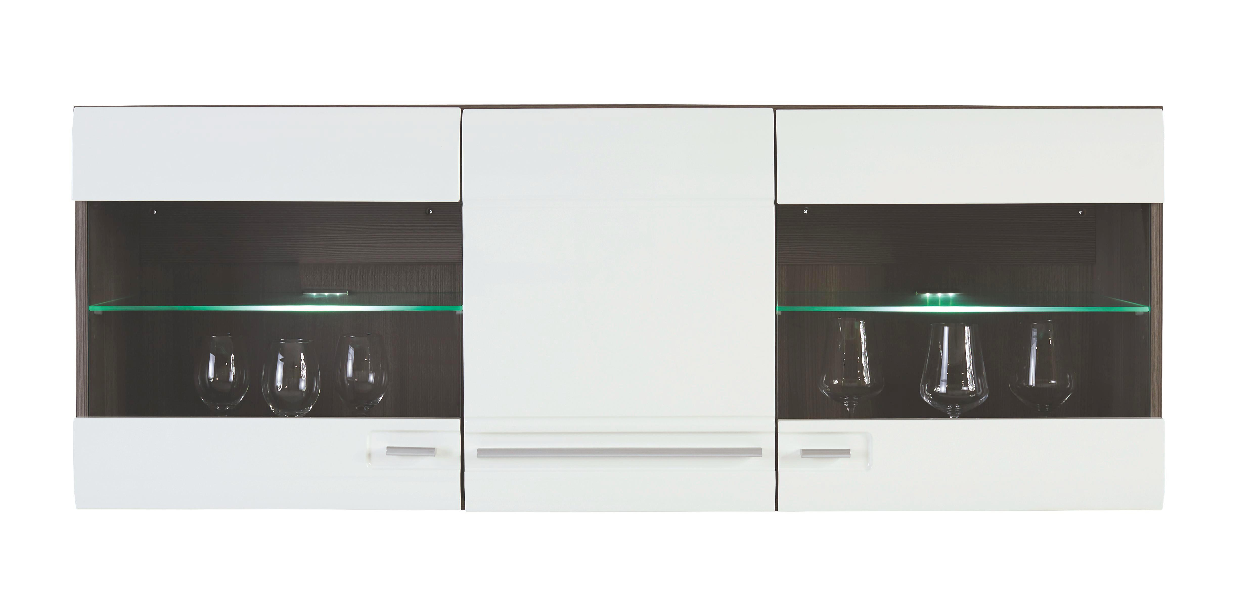 Vitrine Avensis - Dunkelbraun/Weiß, MODERN (140/52/37cm) - LUCA BESSONI