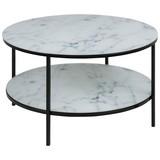 Couchtisch mit Bedruckerter Glasplatte Rund Alisma, Marmor - Schwarz/Weiß, Trend, Glas/Metall (80/80/45cm) - Carryhome