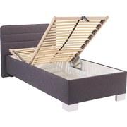 Polsterbett mit Bettkasten 90x200 Melissa, Grau - Silberfarben/Grau, KONVENTIONELL, Textil (90/200cm)