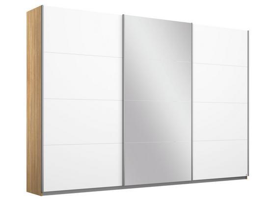 Schwebetürenschrank Belluno B:271cm Eiche/Weiß/spiegel - Weiß/Sonoma Eiche, MODERN, Holzwerkstoff (271/210/62cm)
