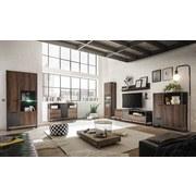 Vitrína Steel - barvy dubu/hnědá, Lifestyle, kov/dřevěný materiál (88/189/40cm) - Modern Living