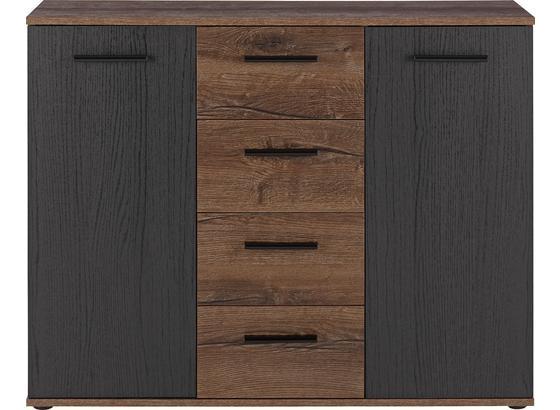 Komoda Sideboard Tokio - farby dubu/čierna, Moderný, umelá hmota/kov (104,6/82,8/34,9cm)