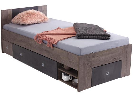 Posteľ Azurro 90 - farby dubu, Moderný, kompozitné drevo (204/75/95cm)