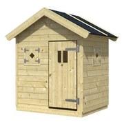 Spielhaus Holz mit Dachpappe Natur Nele 1 - Naturfarben, KONVENTIONELL, Holz (123/155/100cm)