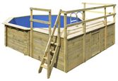 Holzpool Set Spring L Ø 400 X H 124 cm mit Sonnendeck - Naturfarben, KONVENTIONELL, Holz (400/124/400cm) - Karibu