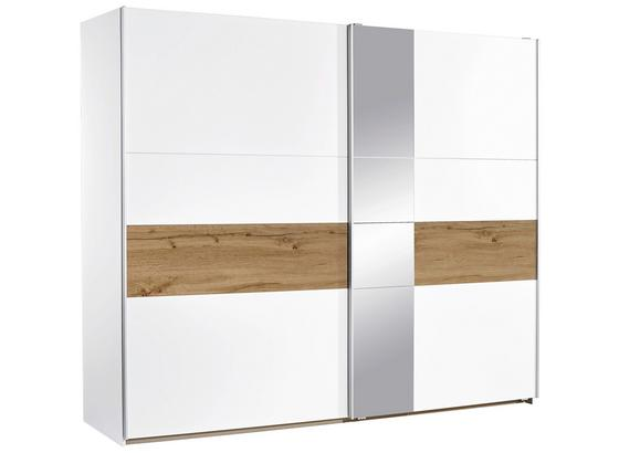 Schwebetürenschrank mit Spiegel 261cm Korbach, Weiß Dekor - Eichefarben/Weiß, MODERN, Holzwerkstoff (261/210/59cm)