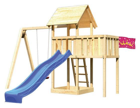 Spielturm Heidi Set XL - Blau/Naturfarben, Holz (107/291/107cm) - Karibu