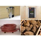 Saunaofen Set 3,6 Kw, Os, 230 V - Alufarben, MODERN, Metall (32,5/51/41cm)
