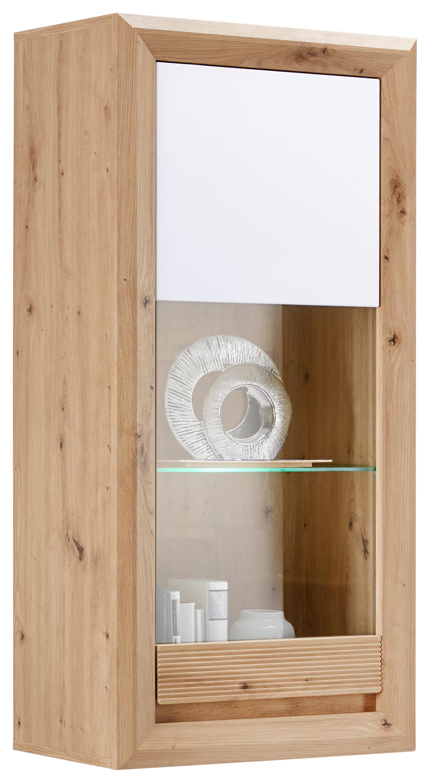 Vitrine Eiche Dekor & Weiß mit Glaseinsatz