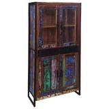 Vitrine Faro B:86cm Massiv, Recyclingholz - Multicolor/Schwarz, Basics, Holz/Metall (86/175/35cm)