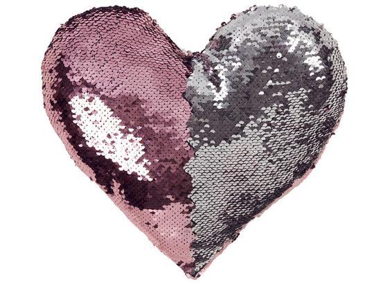 Zierkissen Heart - Silberfarben/Rosa, MODERN, Textil (30/26cm) - Luca Bessoni