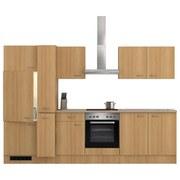 Küchenblock Nano 300 cm Buche - Edelstahlfarben/Buchefarben, MODERN, Holzwerkstoff (300/60cm)
