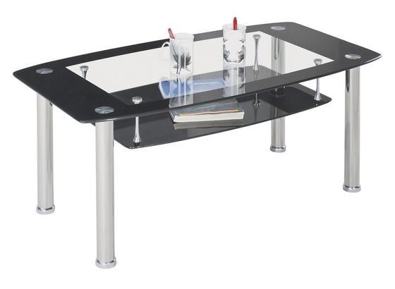 Konferenční Stolek Snapper - černá/čiré, Moderní, kov/sklo (110/45/60cm)