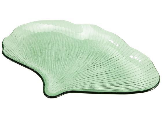 Dekoračný Tanier Leaf - zelená, sklo (31cm)