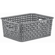 Aufbewahrungskörbchen Rattan 5 Liter - Grau, KONVENTIONELL, Kunststoff (25,5/19,5/10,5cm) - PLAST 1