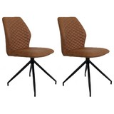 Stuhl-Set Grayson 2-er Set Braun - Haselnussfarben/Schwarz, LIFESTYLE, Textil/Metall (45/91/49cm) - MID.YOU
