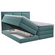 Boxspringbett mit Topper & Bettkasten 180x200 Swing - Türkis, Design, Textil (180/200cm) - Xora