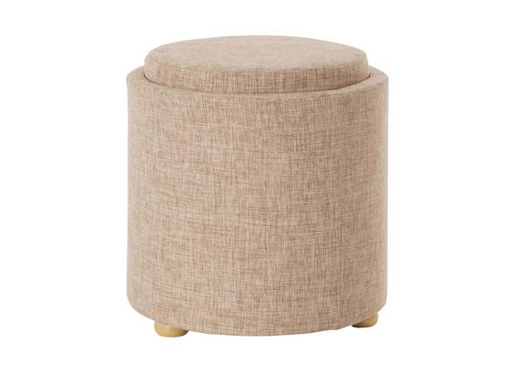 Hocker Stool D: 43 cm Samt - Goldfarben/Creme, Basics, Holzwerkstoff/Textil (43/40cm)
