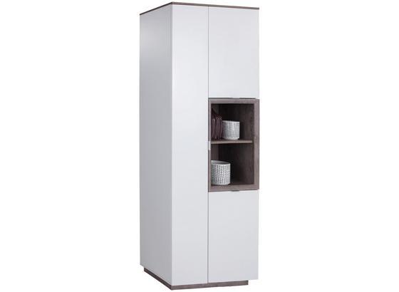 Vitrine Nagos B:75cm, Weiß/ Eichefarben - Eichefarben/Weiß, MODERN, Holzwerkstoff (75/197,2/36,9cm)