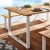Záhradní Stůl Leonor 180x90 Cm - bílá/barvy akácie, Moderní, kov/dřevo (180/90/75cm) - Modern Living