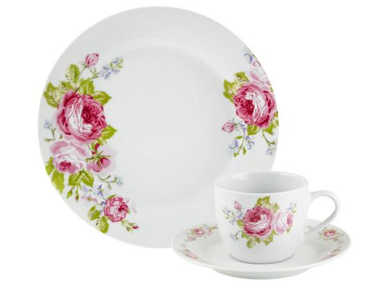 Kaffeeservice, Penelope 18-Tlg. Set, 6 Personen - Pink/Hellblau, ROMANTIK / LANDHAUS, Keramik - James Wood