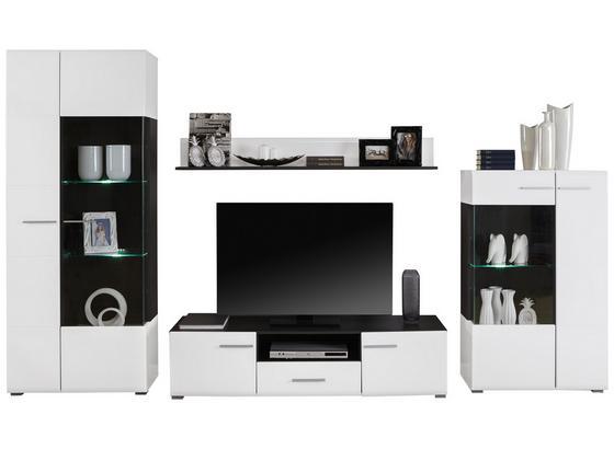 Obývacia Stena Enzo - čierna/biela, Moderný, kompozitné drevo/sklo (308/190/41,5cm)