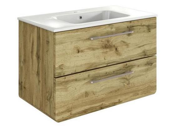 Waschtischunterschrank Faro B: 80 cm Eiche Dekor - Eichefarben/Weiß, Basics, Keramik/Holzwerkstoff (80/54/48cm) - Livetastic
