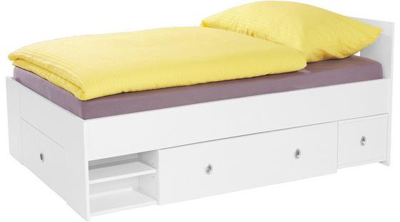 Bett Azurro 90x200cm Weiß - Weiß, MODERN, Holzwerkstoff (204/75/95cm)