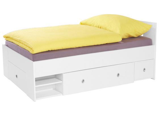 Posteľ Azurro 90x200cm - biela, Moderný, kompozitné drevo (204/75/95cm)