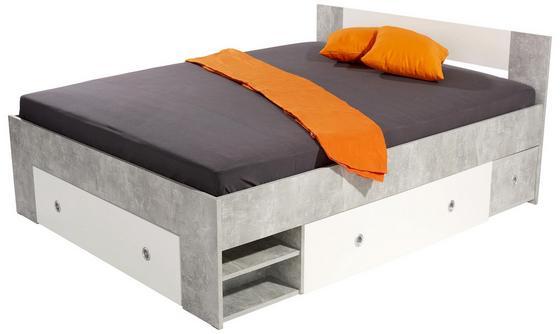 Bett Azurro 140x200 Beton - Hellgrau/Weiß, MODERN, Holzwerkstoff (204/75/145cm)