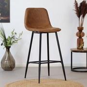 Barhocker-Set Susan 2-er Set Braun - Schwarz/Orange, Basics, Textil/Metall (43/102/49cm) - Livetastic