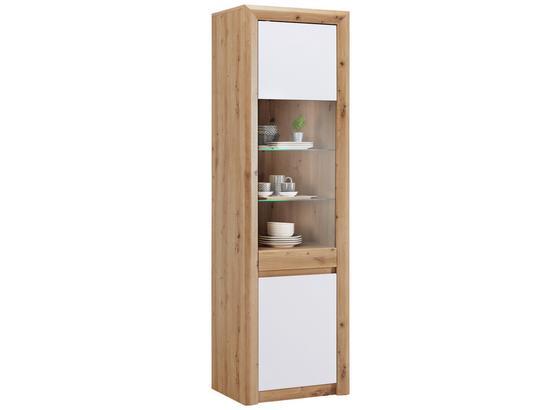 Vitrína Kashmir New - farby dubu/biela, Moderný, kompozitné drevo (57/192/41cm) - James Wood