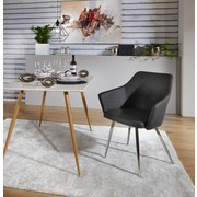 Stuhl Sabrina Grau - Chromfarben/Grau, MODERN, Textil/Metall (51/86/55cm) - Ombra