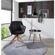 Drehstuhl Belluno Lederlook D.grau - Dunkelgrau/Eichefarben, MODERN, Holz/Textil (60/88/57,5cm) - Luca Bessoni