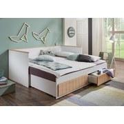Stauraumbett Timmi Bicolor 90-180x200 - Buchefarben/Weiß, KONVENTIONELL, Holz/Holzwerkstoff (205/99-189/80cm)