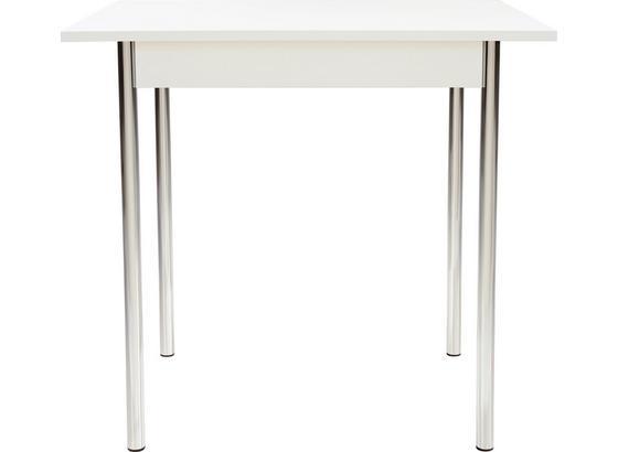 Étkezőasztal Köln - Króm/Fehér, modern, Faalapú anyag/Fém (75/72/55cm)