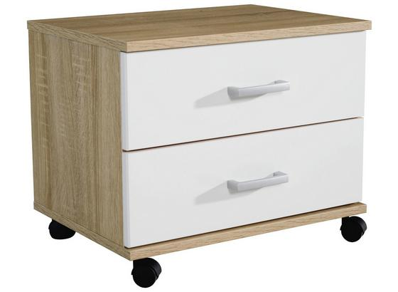 Kontajnér Point - biela/dub sonoma, Moderný, kompozitné drevo/plast (50/41/38cm)