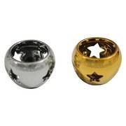 Teelichthalter Ø 6,8 cm - Silberfarben/Goldfarben, MODERN, Keramik (6,8/4,8cm)