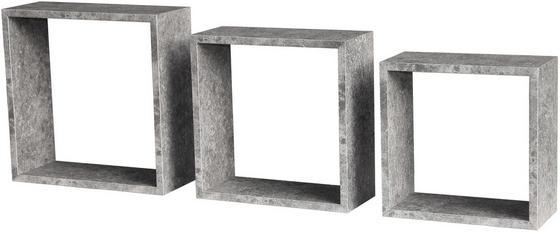Regál Nástěnný Simple 3 - šedá, Moderní, dřevěný materiál (30/30/12cm)